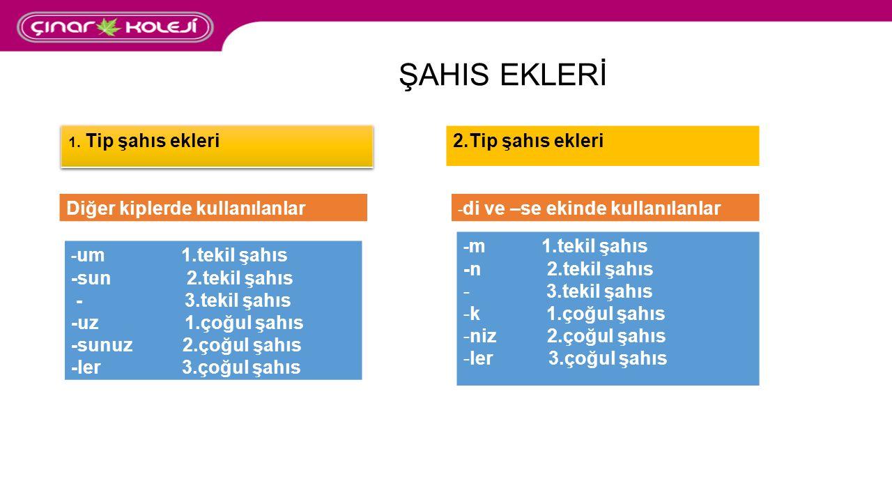 ŞAHIS EKLERİ 2.Tip şahıs ekleri Diğer kiplerde kullanılanlar - di ve –se ekinde kullanılanlar - um 1.tekil şahıs -sun 2.tekil şahıs - 3.tekil şahıs -uz 1.çoğul şahıs -sunuz 2.çoğul şahıs -ler 3.çoğul şahıs - m 1.tekil şahıs -n 2.tekil şahıs - 3.tekil şahıs -k 1.çoğul şahıs -niz 2.çoğul şahıs -ler 3.çoğul şahıs