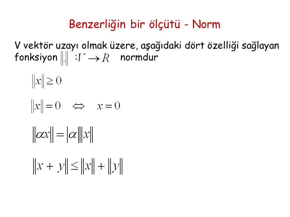 Benzerliğin bir ölçütü - Norm V vektör uzayı olmak üzere, aşağıdaki dört özelliği sağlayan fonksiyon : normdur