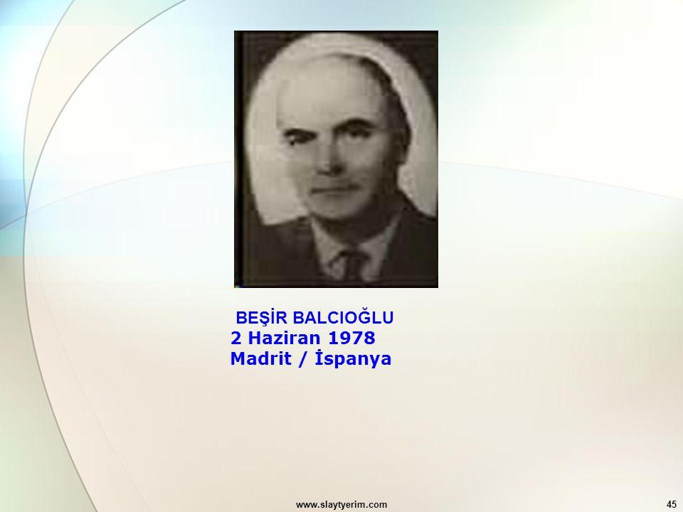 www.slaytyerim.com45 BEŞİR BALCIOĞLU 2 Haziran 1978 Madrit / İspanya