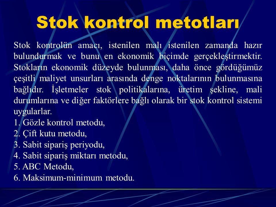 Stok kontrol metotları Stok kontrolün amacı, istenilen malı istenilen zamanda hazır bulundurmak ve bunu en ekonomik biçimde gerçekleştirmektir. Stokla