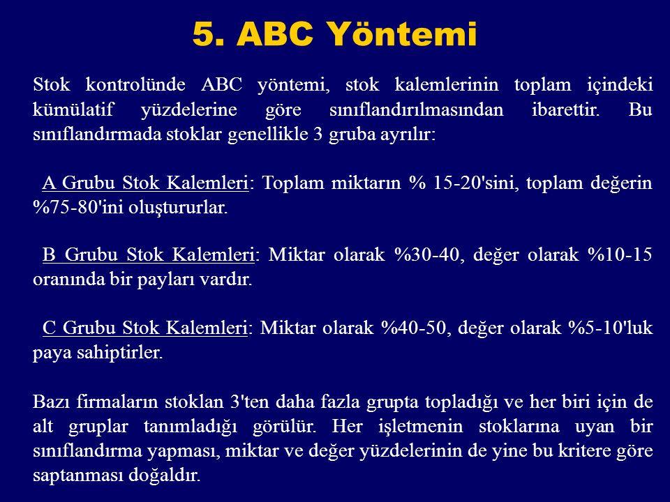 5. ABC Yöntemi Stok kontrolünde ABC yöntemi, stok kalemlerinin toplam içindeki kümülatif yüzdelerine göre sınıflandırılmasından ibarettir. Bu sınıflan