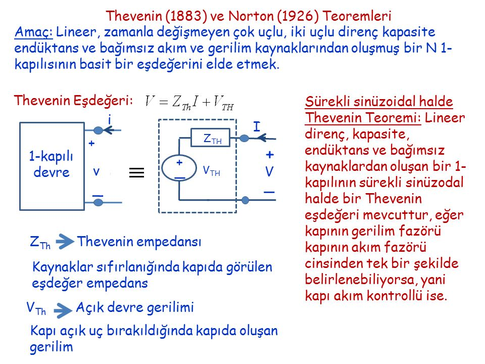 Norton Eşdeğeri: + _ v i 1-kapılı devre Norton Theorem in sinusoidal steady analysis: A 1-port circuit that consists of linear resistor, capacitor, inductors and independent sources has a Norton equivalent circuit in sinusoidal steady state if the port current phasor can be uniquely determined for a given port voltage phasor, in other words, if the 1- port is voltage- controlled.