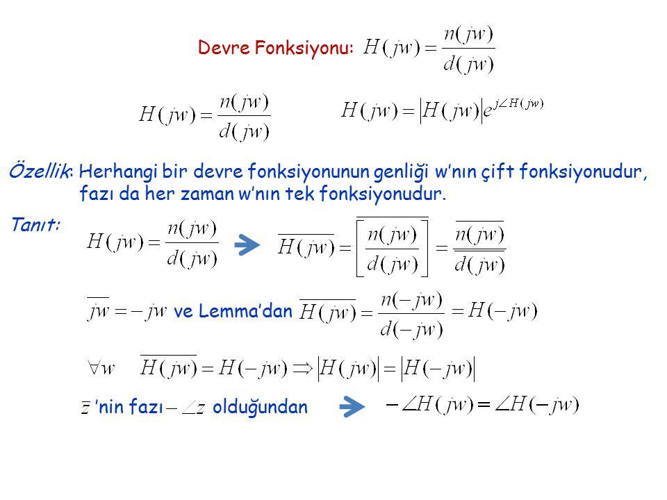 Devre Fonksiyonu: Özellik: Herhangi bir devre fonksiyonunun genliği w'nın çift fonksiyonudur, fazı da her zaman w'nın tek fonksiyonudur. Tanıt: ve Lem