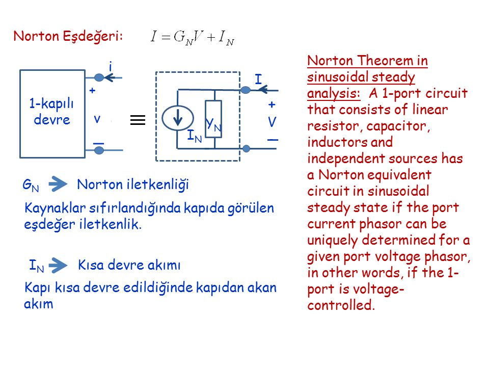 Norton Eşdeğeri: + _ v i 1-kapılı devre Norton Theorem in sinusoidal steady analysis: A 1-port circuit that consists of linear resistor, capacitor, in