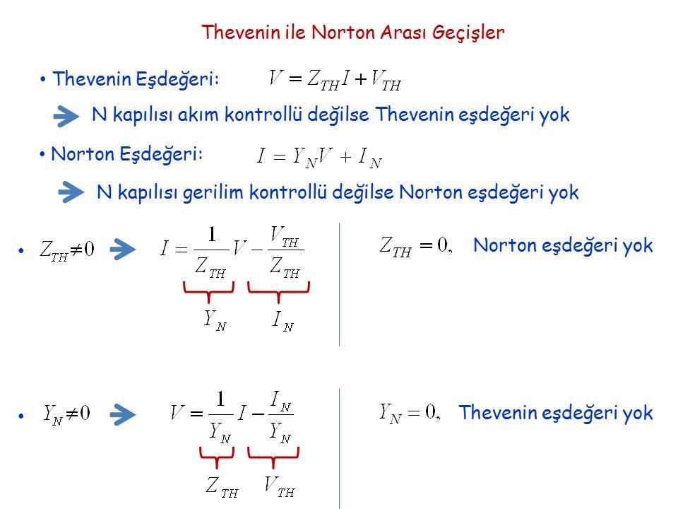 Thevenin Eşdeğeri: N kapılısı akım kontrollü değilse Thevenin eşdeğeri yok Norton Eşdeğeri: N kapılısı gerilim kontrollü değilse Norton eşdeğeri yok N