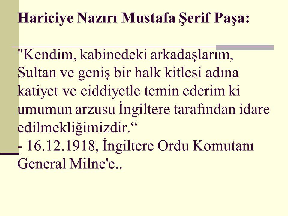 Hariciye Nazırı Mustafa Şerif Paşa: