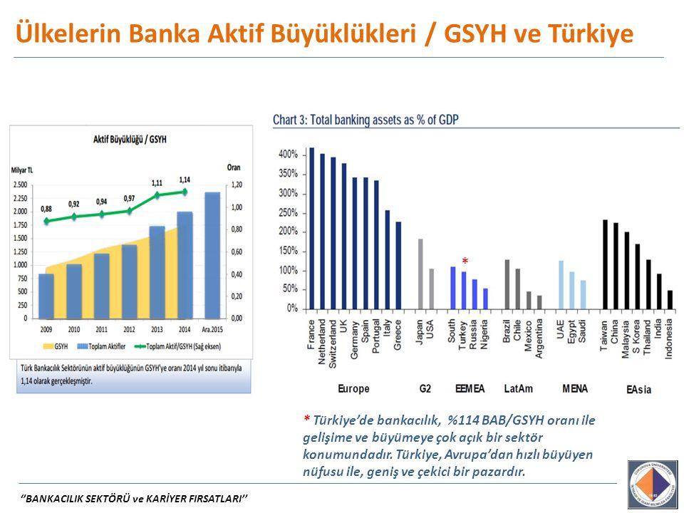 * Türkiye'de bankacılık, %114 BAB/GSYH oranı ile gelişime ve büyümeye çok açık bir sektör konumundadır. Türkiye, Avrupa'dan hızlı büyüyen nüfusu ile,