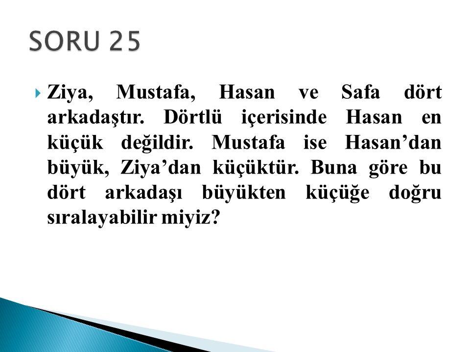  Ziya, Mustafa, Hasan ve Safa dört arkadaştır. Dörtlü içerisinde Hasan en küçük değildir. Mustafa ise Hasan'dan büyük, Ziya'dan küçüktür. Buna göre b