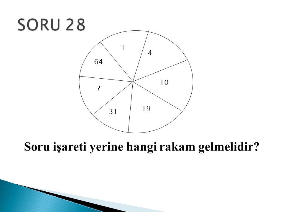 1 64 4 10 19 31 ? Soru işareti yerine hangi rakam gelmelidir?