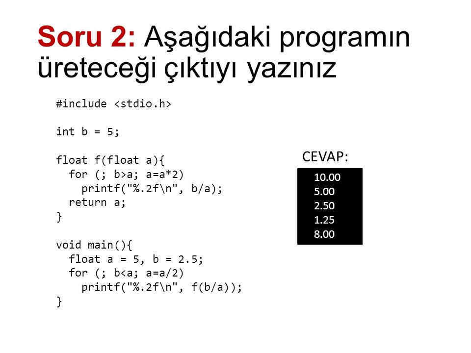 Soru 3: Yandaki matematiksel fonksiyon ile aynı işlemi yapan C dili fonksiyonunu yazınız float f(int x) { int i; float sonuc = 0; for (i = 1; i <= 5; i++) sonuc += i * pow(x, i) / fakt(x+i); return sonuc; } long fakt(int sayi) { long i, f = 1; for (i = 1; i <= sayi; i++) f *= i; return f; }