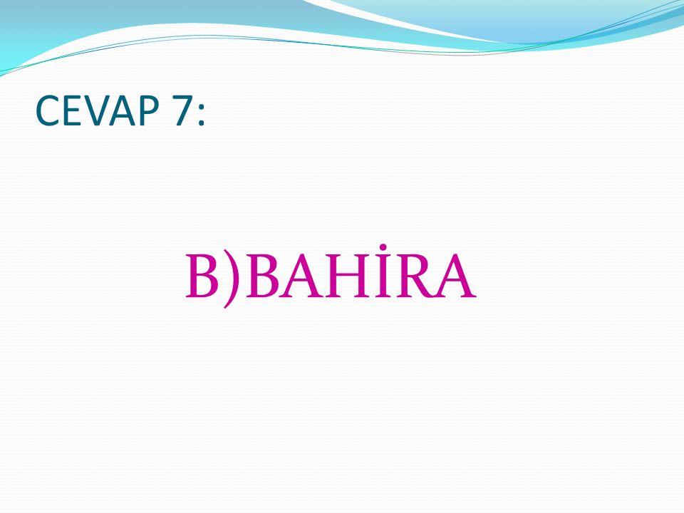 CEVAP 7: B)BAHİRA