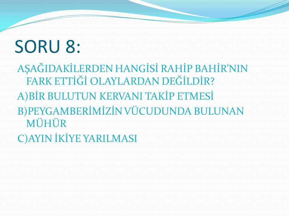 SORU 8: AŞAĞIDAKİLERDEN HANGİSİ RAHİP BAHİR'NIN FARK ETTİĞİ OLAYLARDAN DEĞİLDİR.
