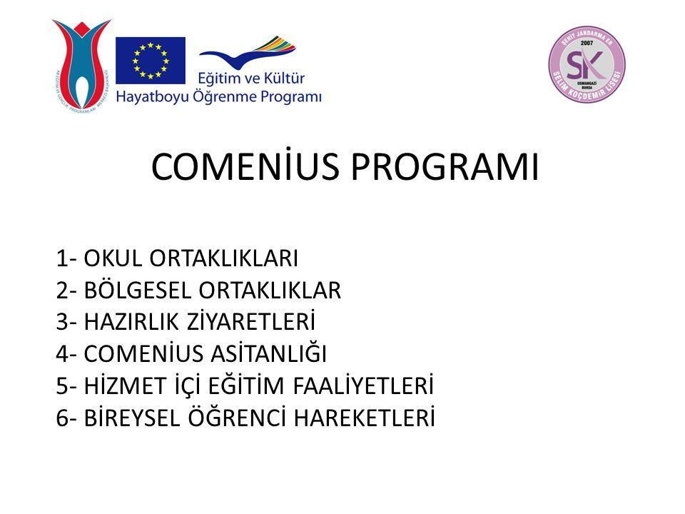 Comenius Okul Ortaklıklarının Amacı: Comenius Okul Ortaklıkları, Avrupa daki okullar arasında işbirliğini teşvik etmek suretiyle eğitimde Avrupa boyutunu geliştirmeyi hedeflemektedir.