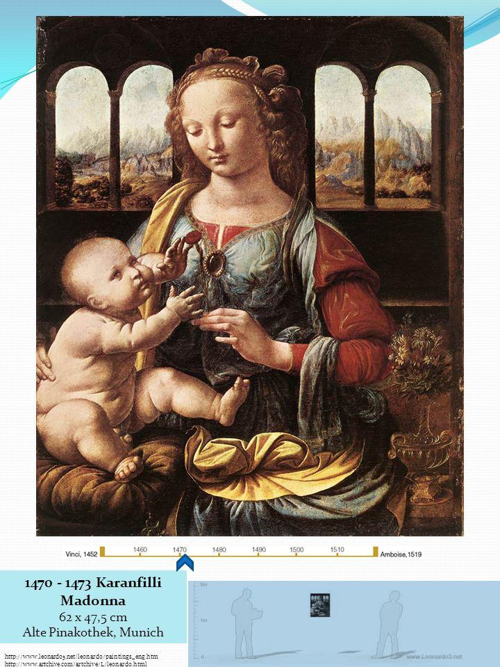 1470 - 1473 Karanfilli Madonna 62 x 47,5 cm Alte Pinakothek, Munich http://www.leonardo3.net/leonardo/paintings_eng.htm http://www.artchive.com/artchi
