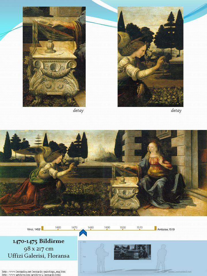 1470-1475 Bildirme 98 x 217 cm Uffizi Galerisi, Floransa detay http://www.leonardo3.net/leonardo/paintings_eng.htm http://www.artchive.com/artchive/L/leonardo.html