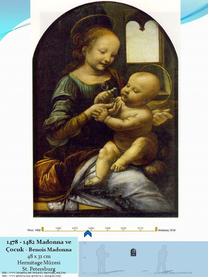 1478 - 1482 Madonna ve Çocuk - Benois Madonna 48 x 31 cm Hermitage Müzesi St.