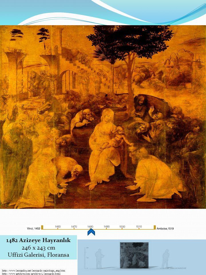 http://www.leonardo3.net/leonardo/paintings_eng.htm http://www.artchive.com/artchive/L/leonardo.html 1482 Azizeye Hayranlık 246 x 243 cm Uffizi Galerisi, Floransa