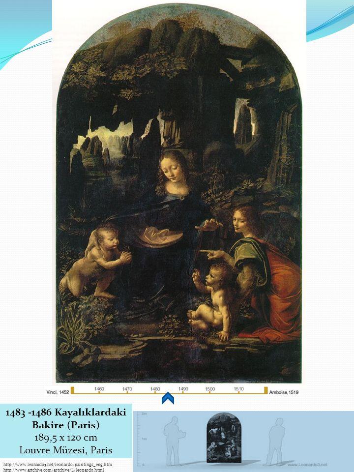 http://www.leonardo3.net/leonardo/paintings_eng.htm http://www.artchive.com/artchive/L/leonardo.html 1483 -1486 Kayalıklardaki Bakire (Paris) 189,5 x 120 cm Louvre Müzesi, Paris