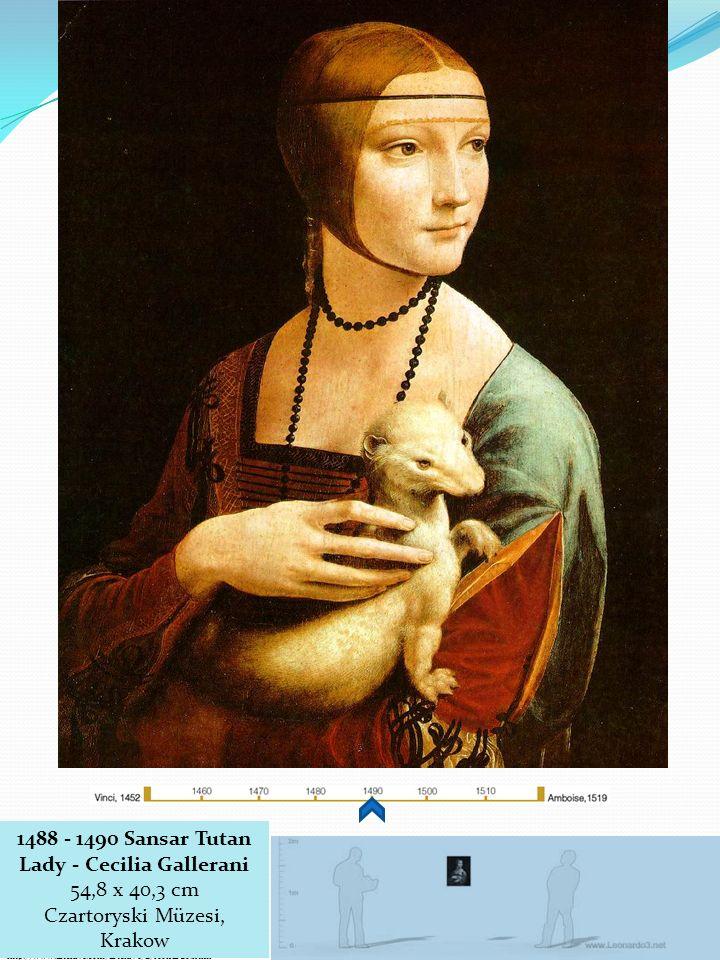 http://www.leonardo3.net/leonardo/paintings_eng.htm http://www.artchive.com/artchive/L/leonardo.html 1488 - 1490 Sansar Tutan Lady - Cecilia Gallerani