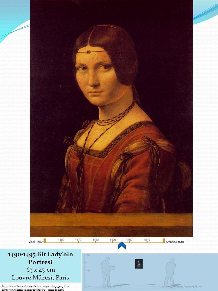 http://www.leonardo3.net/leonardo/paintings_eng.htm http://www.artchive.com/artchive/L/leonardo.html 1490-1495 Bir Lady'nin Portresi 63 x 45 cm Louvre Müzesi, Paris