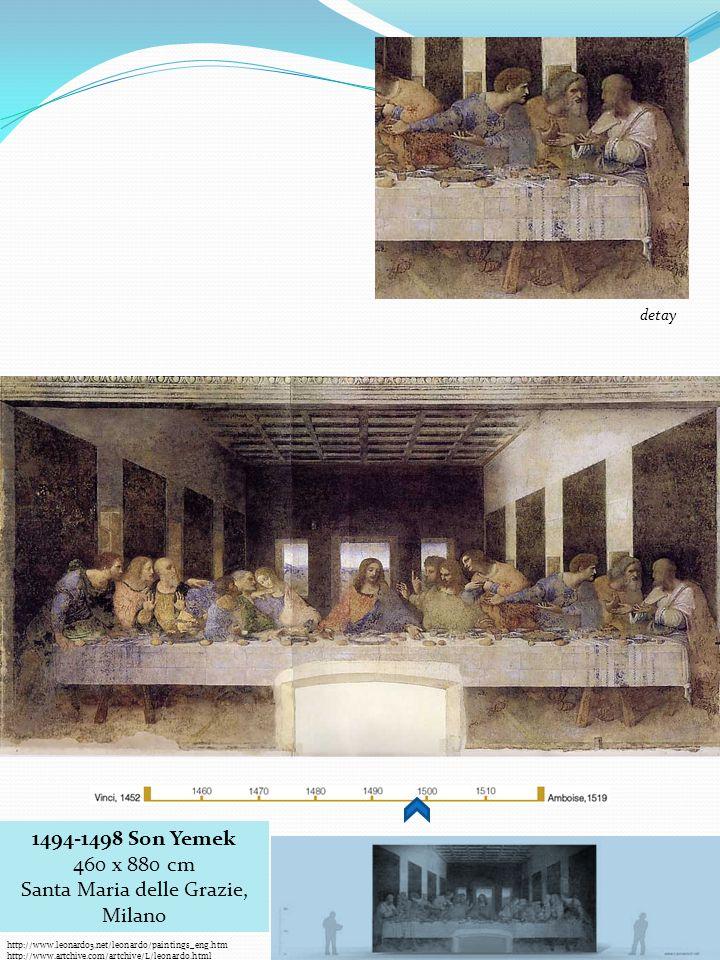 http://www.leonardo3.net/leonardo/paintings_eng.htm http://www.artchive.com/artchive/L/leonardo.html 1494-1498 Son Yemek 460 x 880 cm Santa Maria delle Grazie, Milano detay