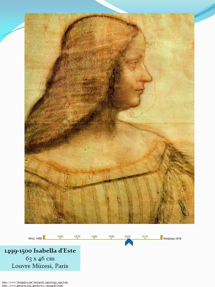 http://www.leonardo3.net/leonardo/paintings_eng.htm http://www.artchive.com/artchive/L/leonardo.html 1499-1500 Isabella d Este 63 x 46 cm Louvre Müzesi, Paris