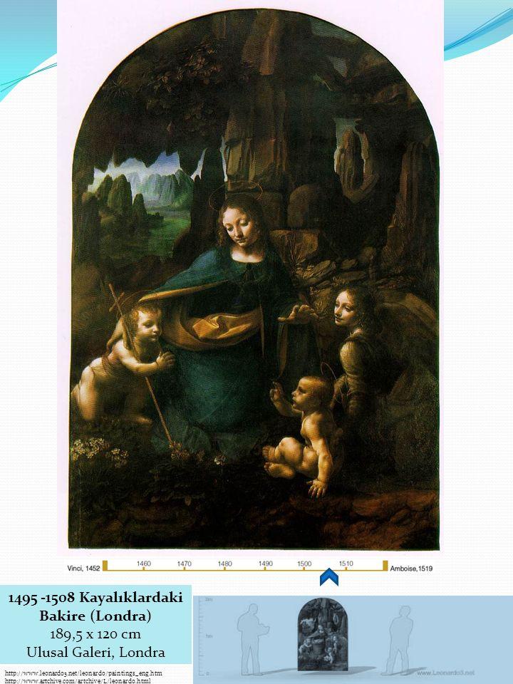 http://www.leonardo3.net/leonardo/paintings_eng.htm http://www.artchive.com/artchive/L/leonardo.html 1495 -1508 Kayalıklardaki Bakire (Londra) 189,5 x 120 cm Ulusal Galeri, Londra