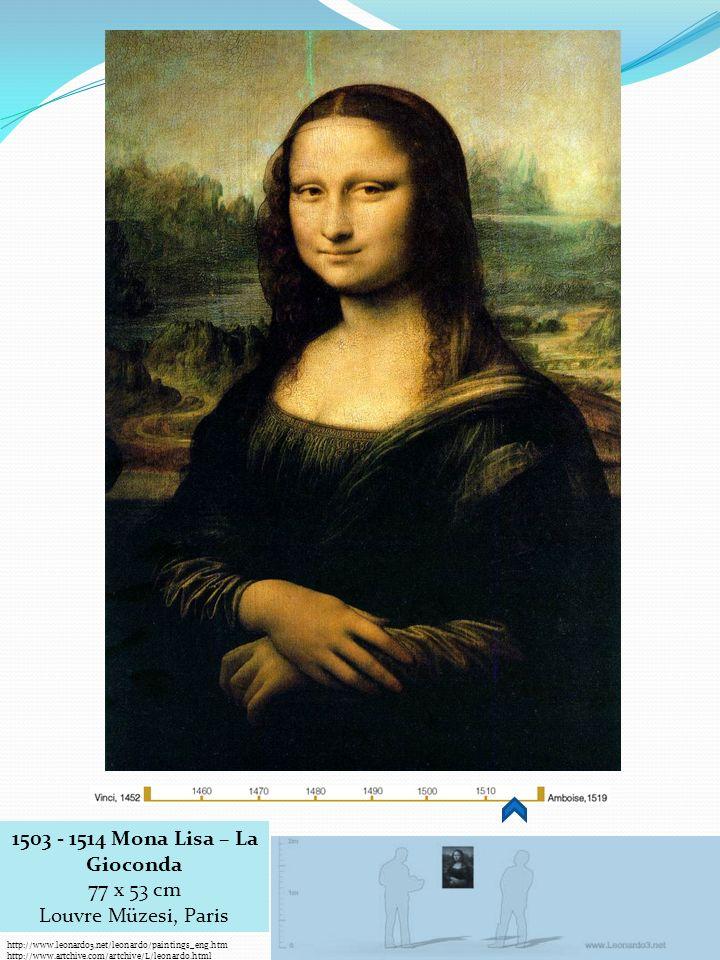 http://www.leonardo3.net/leonardo/paintings_eng.htm http://www.artchive.com/artchive/L/leonardo.html 1503 - 1514 Mona Lisa – La Gioconda 77 x 53 cm Louvre Müzesi, Paris