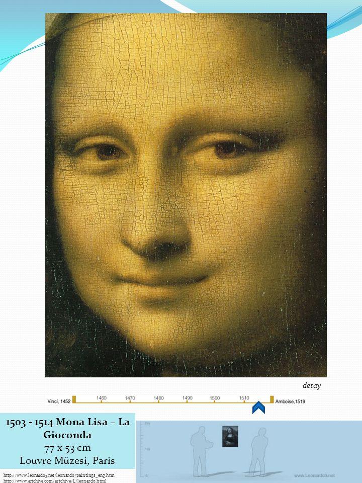 http://www.leonardo3.net/leonardo/paintings_eng.htm http://www.artchive.com/artchive/L/leonardo.html 1503 - 1514 Mona Lisa – La Gioconda 77 x 53 cm Louvre Müzesi, Paris detay