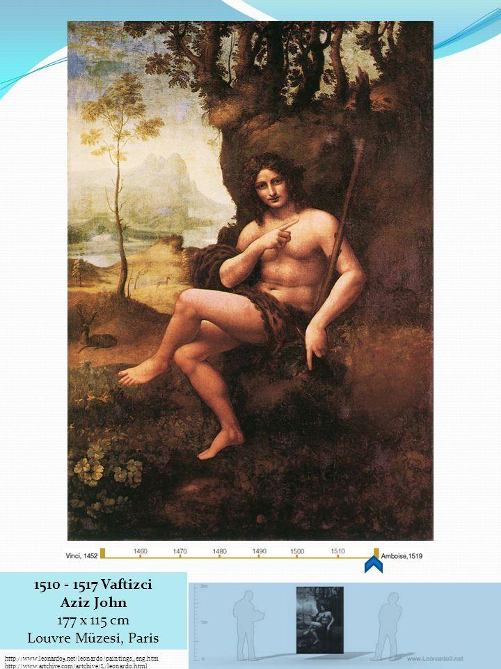 http://www.leonardo3.net/leonardo/paintings_eng.htm http://www.artchive.com/artchive/L/leonardo.html 1510 - 1517 Vaftizci Aziz John 177 x 115 cm Louvre Müzesi, Paris