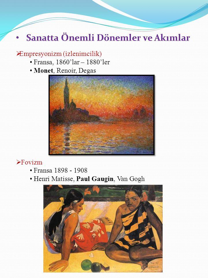  Empresyonizm (izlenimcilik) Fransa, 1860'lar – 1880'ler Monet, Renoir, Degas  Fovizm Fransa 1898 - 1908 Henri Matisse, Paul Gaugin, Van Gogh