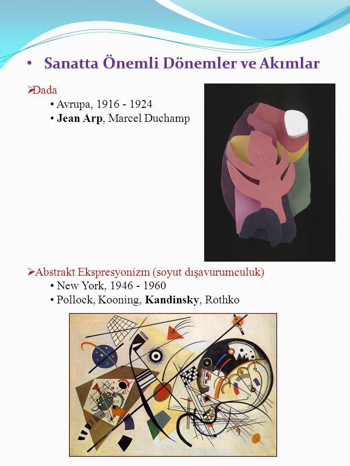  Dada Avrupa, 1916 - 1924 Jean Arp, Marcel Duchamp  Abstrakt Ekspresyonizm (soyut dışavurumculuk) New York, 1946 - 1960 Pollock, Kooning, Kandinsky, Rothko