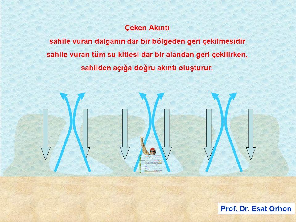 Prof. Dr. Esat Orhon Çeken Akıntı sahile vuran dalganın dar bir bölgeden geri çekilmesidir sahile vuran tüm su kitlesi dar bir alandan geri çekilirken