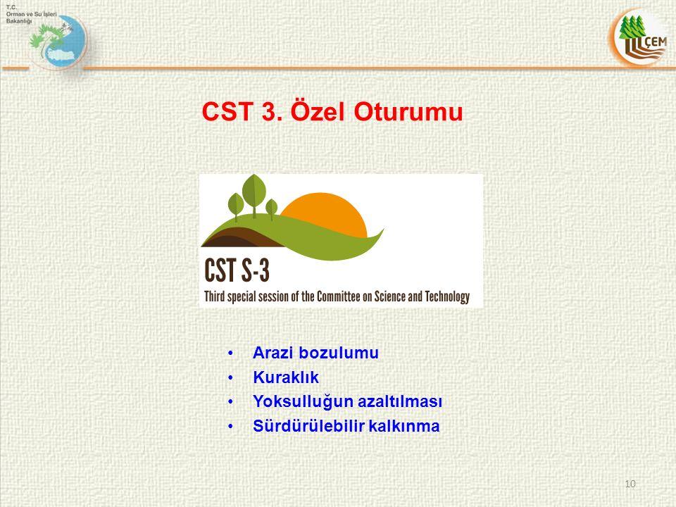 CST 3. Özel Oturumu Arazi bozulumu Kuraklık Yoksulluğun azaltılması Sürdürülebilir kalkınma 10