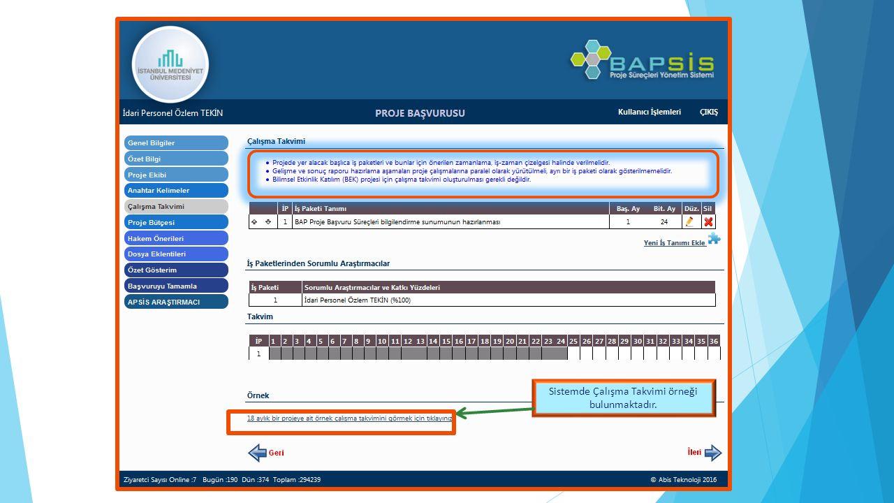 Sistemde Çalışma Takvimi örneği bulunmaktadır.