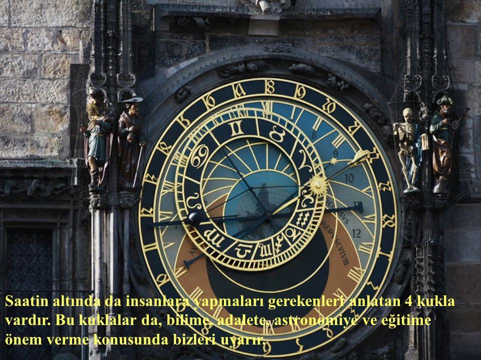 Saatin altında da insanlara yapmaları gerekenleri anlatan 4 kukla vardır.