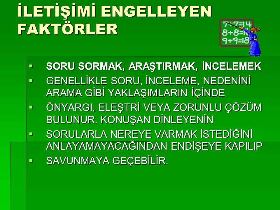 İLETİŞİMİ ENGELLEYEN FAKTÖRLER 3. SORU SORMAK, ARAŞTIRMAK, İNCELEMEK 3.