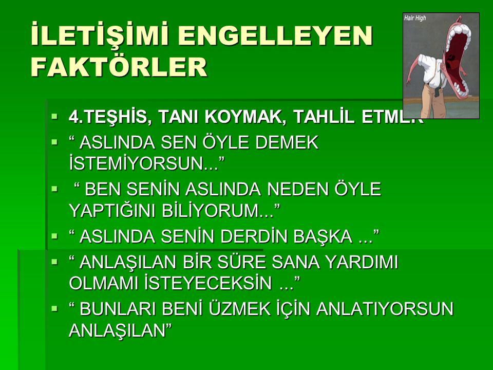 İLETİŞİMİ ENGELLEYEN FAKTÖRLER 4.