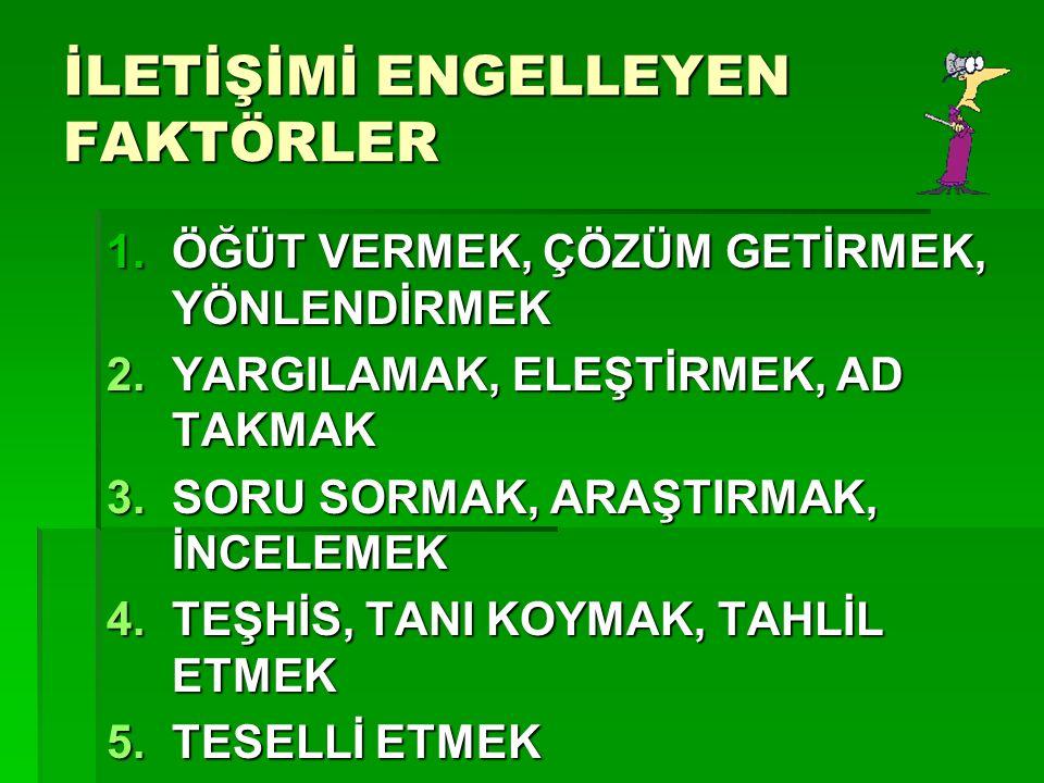 """6 İLETİŞİM ENGELİ: SEN DİLİ  İLETİŞİM ENGELLERİNE BAKARSAK ÇOĞUNUN """"SEN DİLİ"""" YÜKLÜ OLDUĞUNU GÖRÜRÜZ  """"EVİ YİNE ÇÖPLÜĞE ÇEVİRMİŞSİN!"""",  """"SAATLERDİR"""