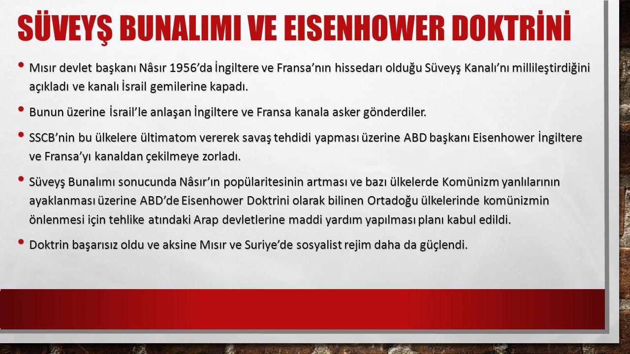SÜVEYŞ BUNALIMI VE EISENHOWER DOKTRİNİ Mısır devlet başkanı Nâsır 1956'da İngiltere ve Fransa'nın hissedarı olduğu Süveyş Kanalı'nı millileştirdiğini açıkladı ve kanalı İsrail gemilerine kapadı.