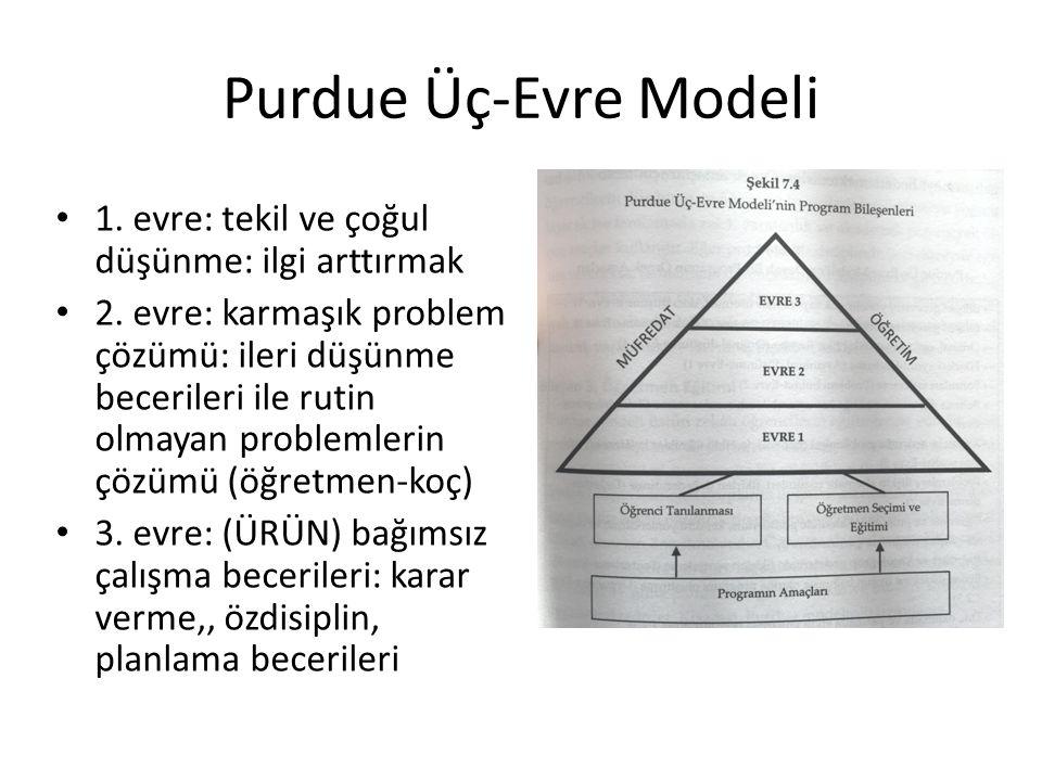 Üçlü Zenginleştirme ve Döner Kapı Modeli Yaratıcı üretkenliklerini geliştirmeyi amaçlar 1) tanılama: döner kapı modeli ile %15-20 belirlenir 2) Müfredat daraltma 3) I.