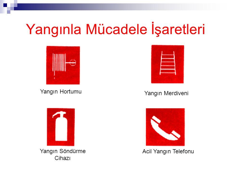 Yangınla Mücadele İşaretleri Yangınla mücadele işaretleri Dikdörtgen veya kare biçiminde, Kırmızı zemin üzerine beyaz piktogram (kırmızı kısımlar işaret alanının en az % 50'sini kapsar)