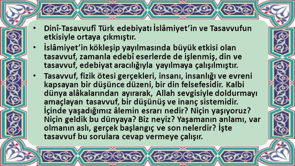 Dinî-Tasavvufî Türk edebiyatı İslâmiyet'in ve Tasavvufun etkisiyle ortaya çıkmıştır. İslâmiyet'in kökleşip yayılmasında büyük etkisi olan tasavvuf, za