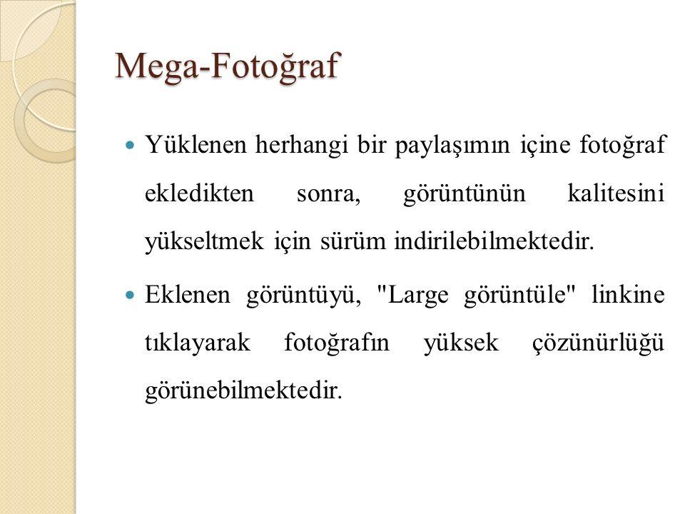 Mega-Fotoğraf Yüklenen herhangi bir paylaşımın içine fotoğraf ekledikten sonra, görüntünün kalitesini yükseltmek için sürüm indirilebilmektedir.