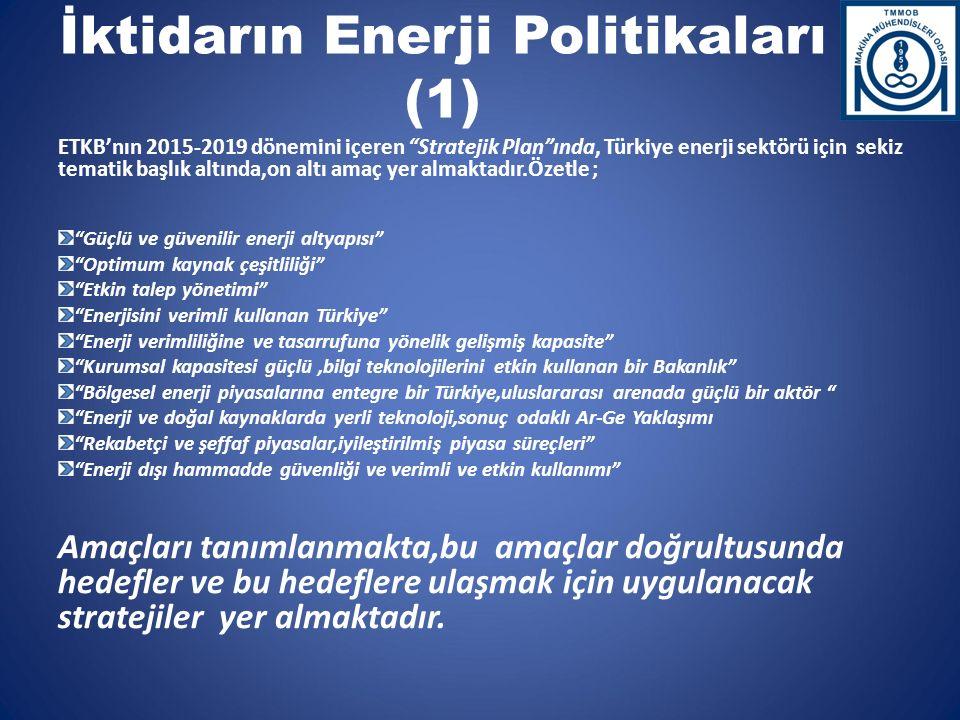 """İktidarın Enerji Politikaları (1) ETKB'nın 2015-2019 dönemini içeren """"Stratejik Plan""""ında, Türkiye enerji sektörü için sekiz tematik başlık altında,on"""