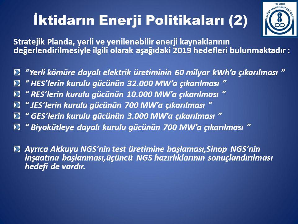 İktidarın Enerji Politikaları (2) Stratejik Planda, yerli ve yenilenebilir enerji kaynaklarının değerlendirilmesiyle ilgili olarak aşağıdaki 2019 hedefleri bulunmaktadır : Yerli kömüre dayalı elektrik üretiminin 60 milyar kWh'a çıkarılması HES'lerin kurulu gücünün 32.000 MW'a çıkarılması RES'lerin kurulu gücünün 10.000 MW'a çıkarılması JES'lerin kurulu gücünün 700 MW'a çıkarılması GES'lerin kurulu gücünün 3.000 MW'a çıkarılması Biyokütleye dayalı kurulu gücünün 700 MW'a çıkarılması Ayrıca Akkuyu NGS'nin test üretimine başlaması,Sinop NGS'nin inşaatına başlanması,üçüncü NGS hazırlıklarının sonuçlandırılması hedefi de vardır.