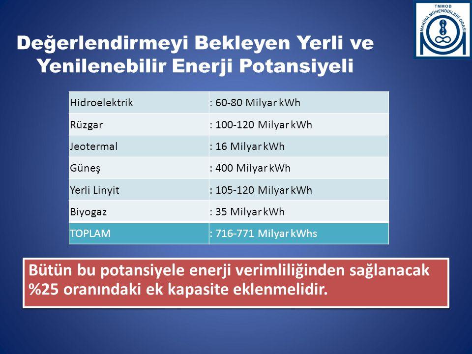 Bütün bu potansiyele enerji verimliliğinden sağlanacak %25 oranındaki ek kapasite eklenmelidir.