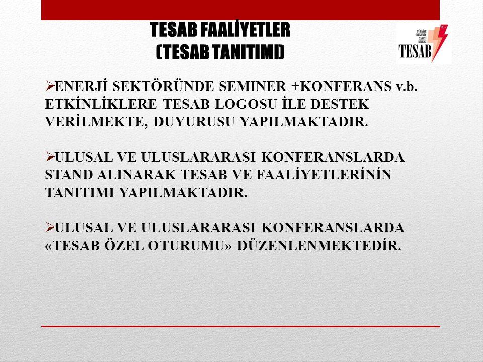 TESAB FAALİYETLER (TESAB TANITIMI)  ENERJİ SEKTÖRÜNDE SEMINER +KONFERANS v.b.