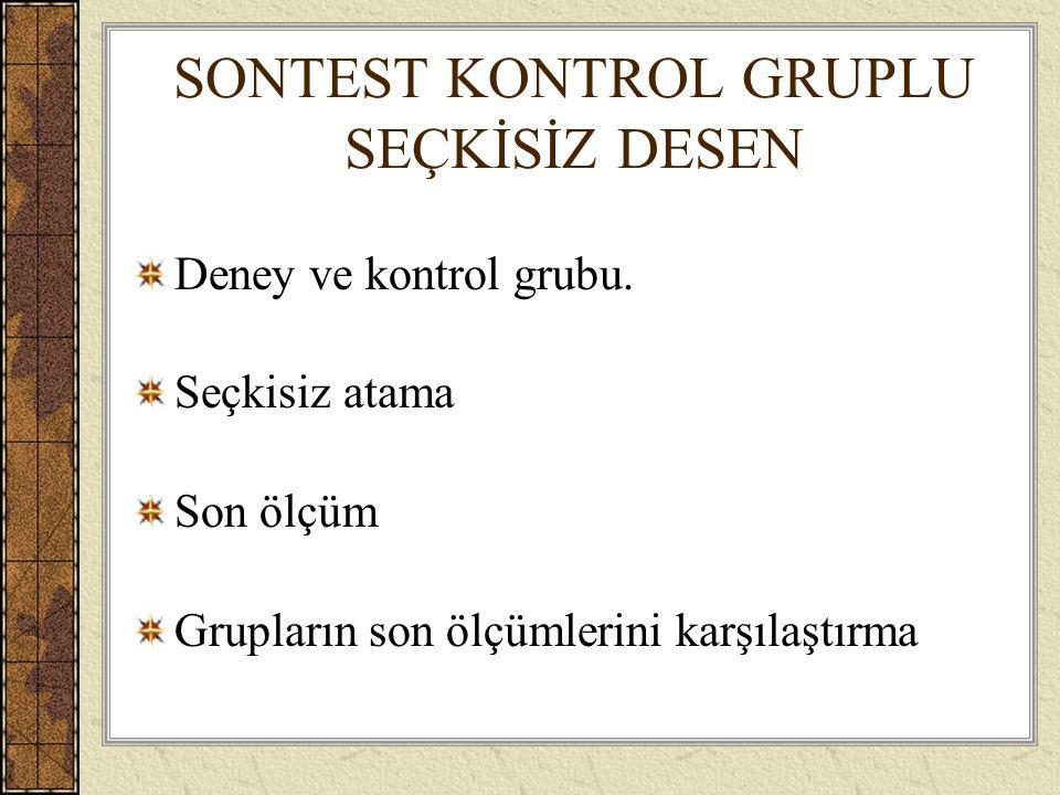SONTEST KONTROL GRUPLU SEÇKİSİZ DESEN Deney ve kontrol grubu.