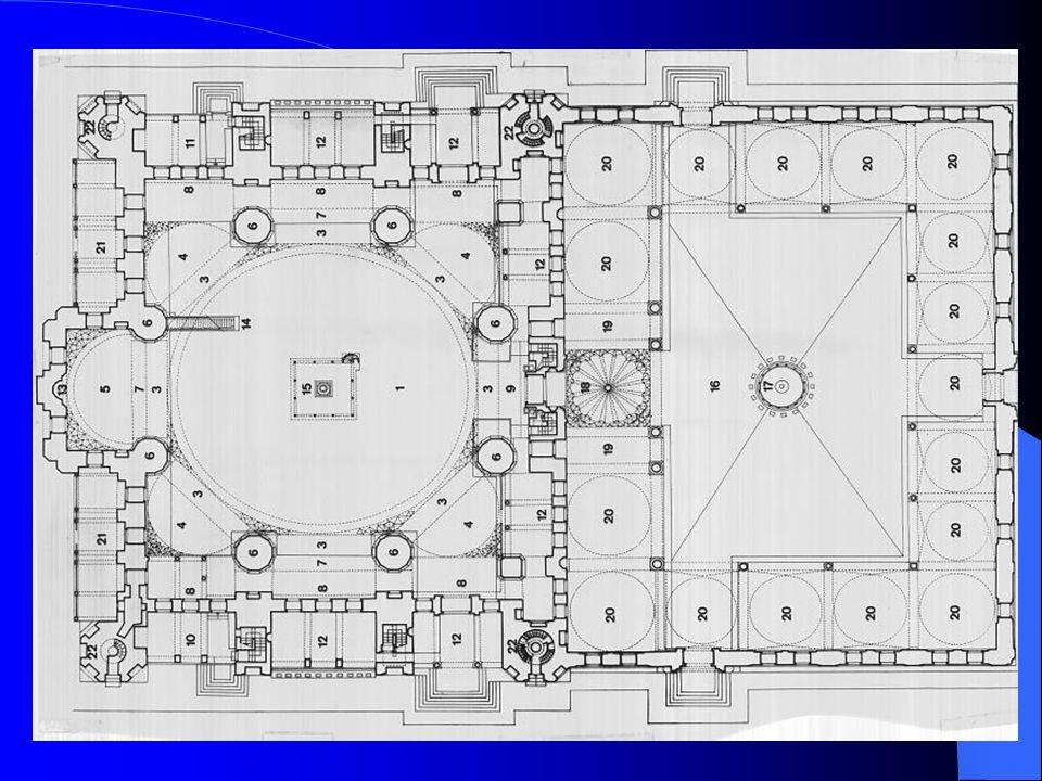 Eserin 31,50 metre çapında ve yarım küre şeklindeki kubbesi yan kubbeler kullanılmadan 8 büyük ayak üzerine oturtulmuştur.